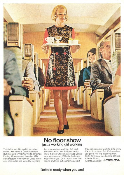 "1969 Delta Airlines Stewardess in ""No-Floor Show"" Magazine Ad"