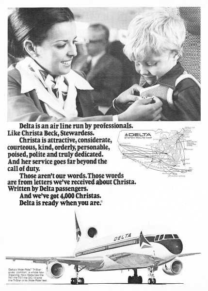 "1974 ""Delta Is An Airline Run By Professionals"" like Stewardess Christa Beck Magazine Ad"
