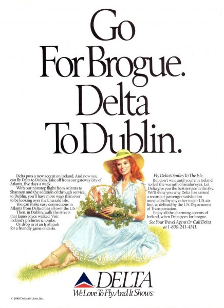 "1988 Delta Airlines ""Go For Brogue. Delta To Dublin"" Magazine Advertisement"