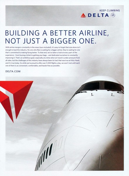 "2011 Delta Airlines Building A Better Airline. Nopt Just A Bigger One"" Magazine Ad"
