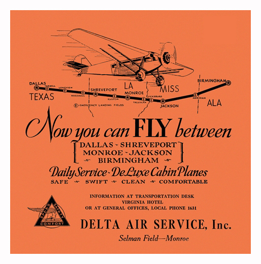 September 1929. One Of The First Delta Air Service Ads