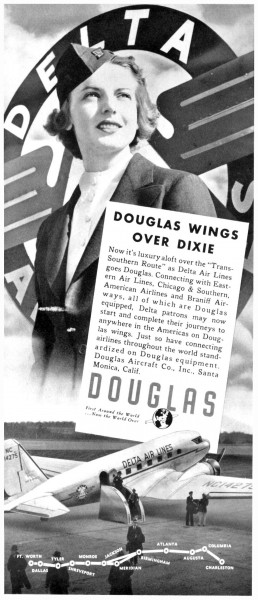 1940 Delta Airlines Douglas Wings Over Dixie Print Ad