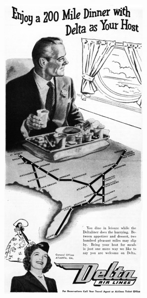 1946 Delta Airlines Enjoy A 200 Mile Dinner With Delta As Your Host Print Ad