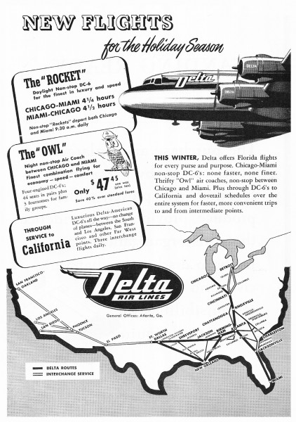 1949 Delta Airlines New Flights Owl DC-4 Rocket DC-6 Print Ad