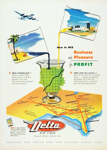 1952 Delta Air Lines How To Mix Business And Pleasure For Profit Magazine Ad