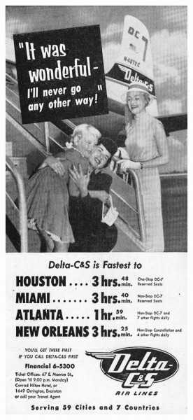 1954 Delta CS Air Lines It Was Wonderful I Will Never Go Any Other Way Print Ad