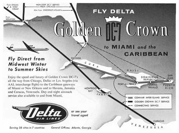 1955 Delta Air Lines Golden DC-7 Crown Print Ad