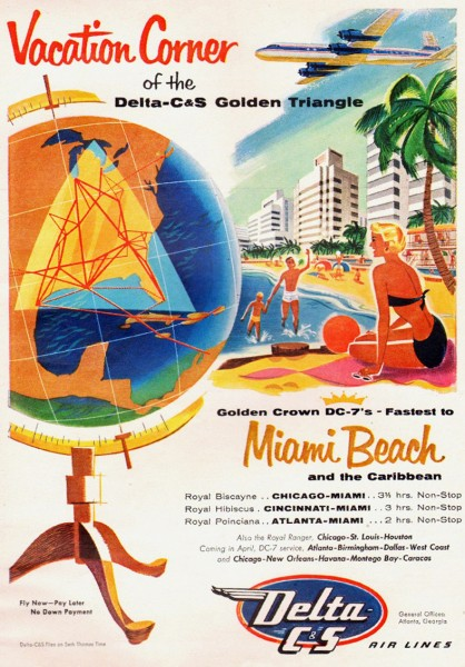 1955 Vintage Delta CS Airlines Miami Beach Magazine Ad