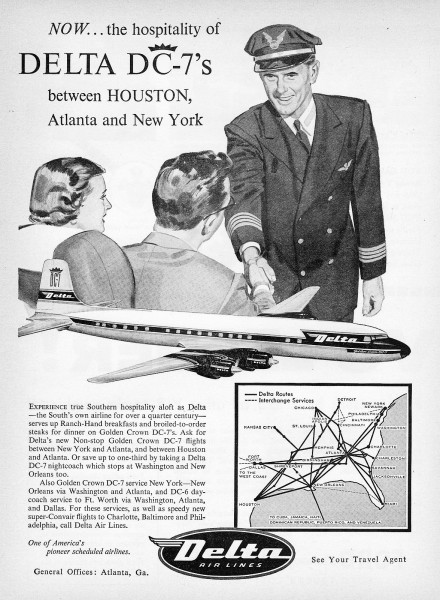 1956 Delta Airlines DC-7 Houston Atlanta New-York Print Ad