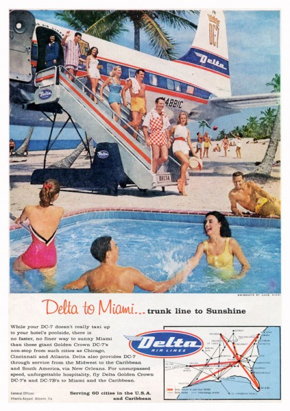 1958 Delta Airlines DC-7 Trunk Line To Sunshine Magazine Ad