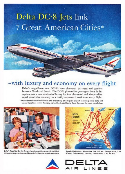 1959 December Delta Air Lines DC-8 Jets Link 7 Cities Magazine Ad