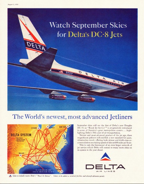 1959 Delta Airlines DC 8 Jets The First Jetliner Magazine Ad