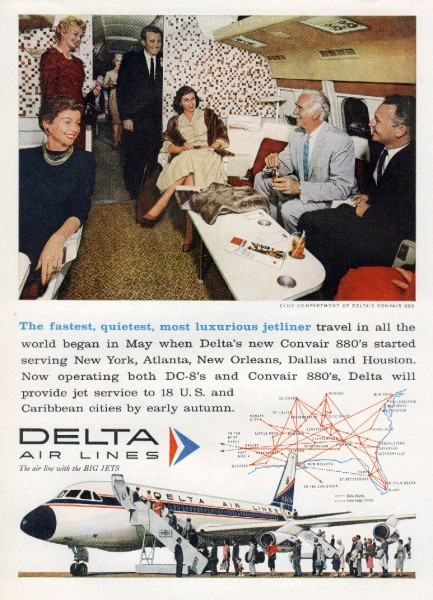 1960 Delta Airlines Fastest Quietest Most Luxurious Convair-880 Magazine Air