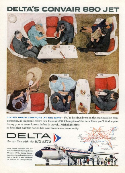 1960 Delta Airlines Living Room Comfort Convair-880 Jet Liner Magazine Ad