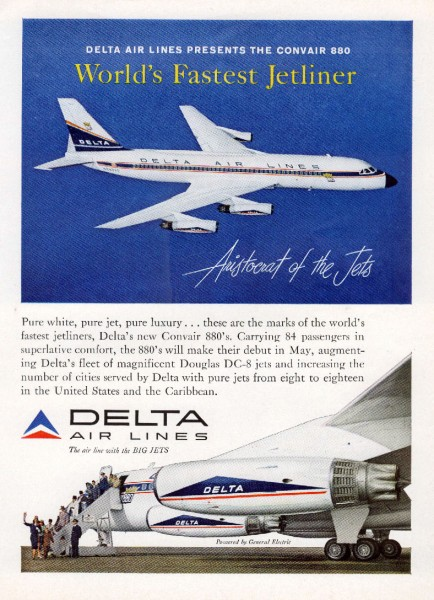 1960 Delta Airlines World's Fastest Jetliner Convair-880 Magazine Ad