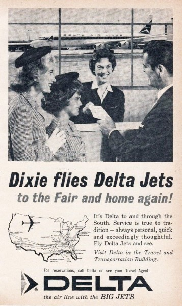 1964 Delta Airlines World's Fair Print Ad