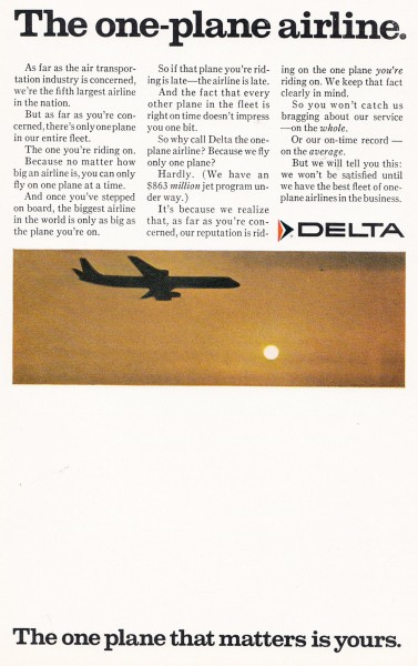 1967 Delta Airlines The One Plane Airline Print Ad