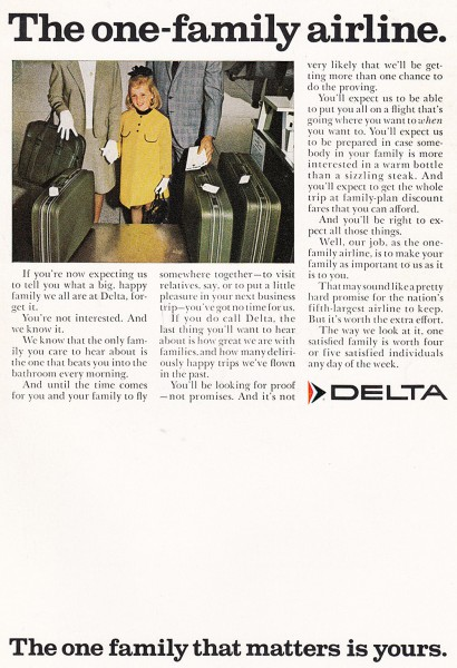 1968 Delta Airlines One Family Print Ad