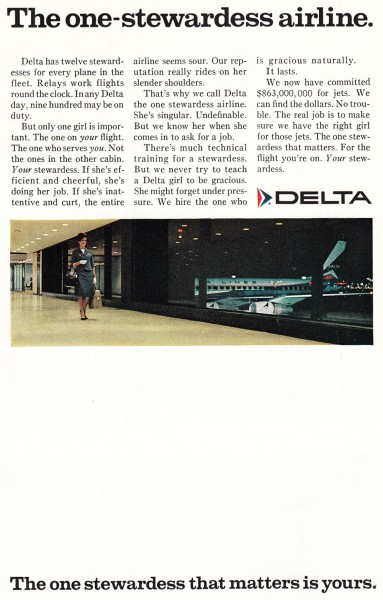 1968 Delta Airlines One Stewardess Airline Print Ad