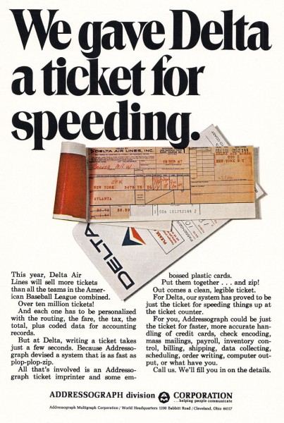 1969 Delta Airlines Ticket For Speeding Print Ad