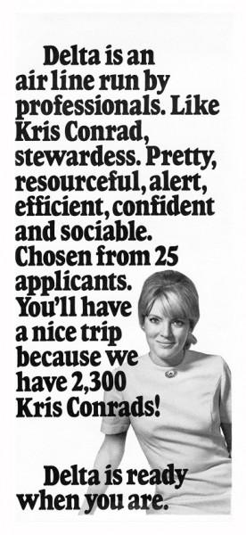 1970 Delta Airlines Kris Conrad Stewardess Print Ad