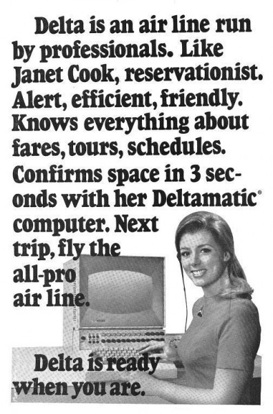 1971 Delta Airlines Janet Cook Reservationist Print Ad