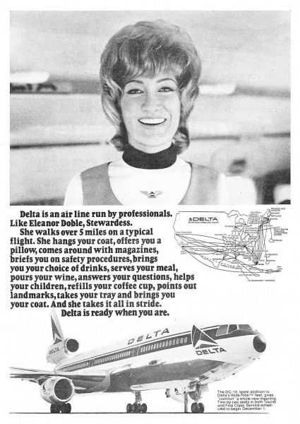 1972 Delta Airlines DC-10 Jumbo Jet Stewardess Eleanor Doble Print Ad
