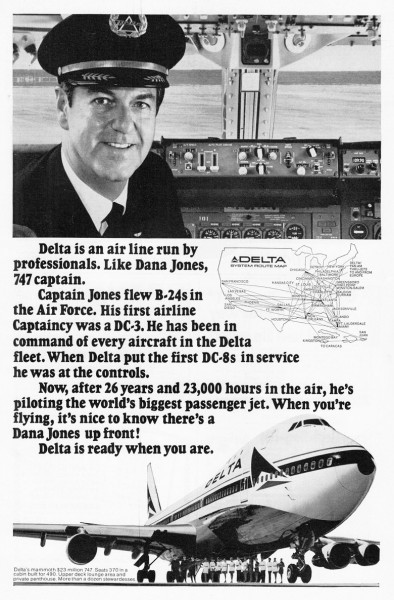 1972 Delta Airlines Dana Jones 747 Captain Print Ad