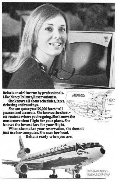 1973 Delta Air Lines DC-10 Nancy Palmer Print Ad