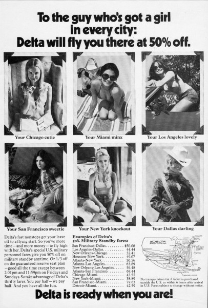"1973 Delta Airlines ""To The Guy Who Has A Girl In Every City"" Magazine Ad"