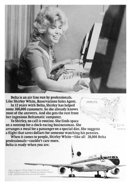 "1976 Delta Airlines ""Run By Professionals"" Shirley White Print Ad"