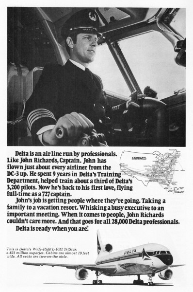1977 Delta Airlines Captain John Richards Print Ad