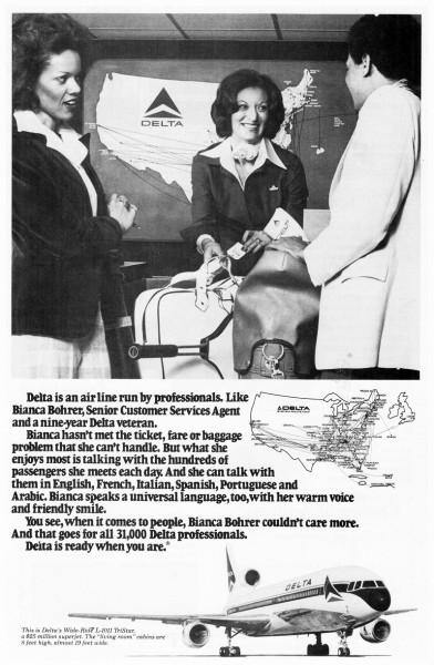 1978 Delta Airlines Bianca Bohrer Print Ad
