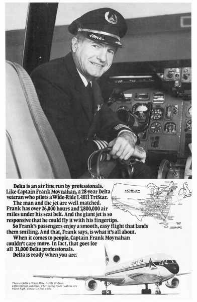 1978 Delta Airlines Captain Frank Moynahan Print Ad