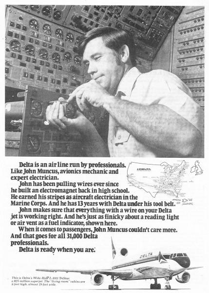 1978 Delta Airlines Mechanic Electrician John Muncus Print Ad