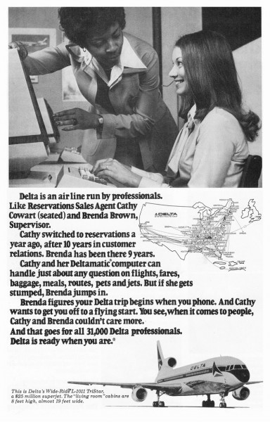 1978 Delta Airlines Reservations Agent Cathy Cowart Print Ad