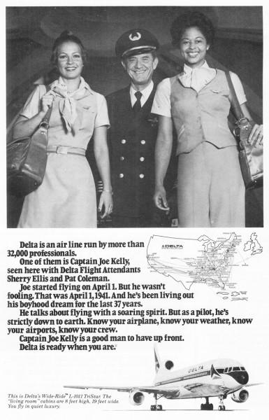 1979 Delta Airlines Captain Joe Kelly Sherry Ellis Pat Coleman Print Ad