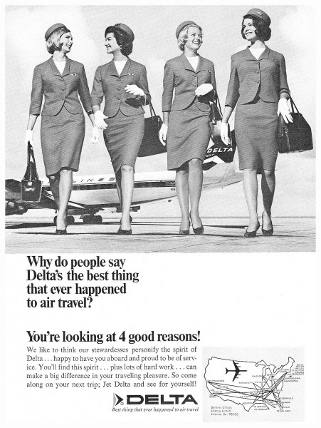 1966 Delta Airlines Stewardess Flight Attendant 4 Good Reasons Print Ad