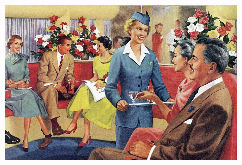 1954 Pan American Airlines Lower Deck Lounge Magazine Ad