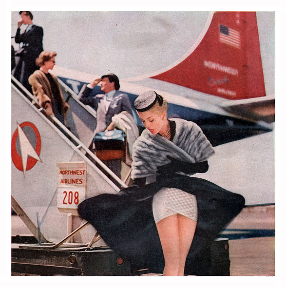 1956 Northwest Airlines Sexy Passenger Wearing Sarong Criss-Cross Girdle Advertising