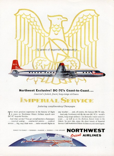 1957 Northwest Airlines Exclusive DC-7C Imperial Service Coast to Coast Print Ad