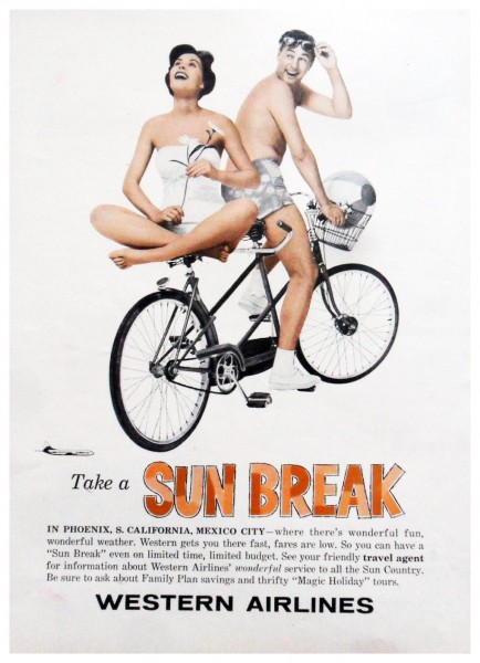 1960 Western Airlines Take A Sunbreak Magazine Ad