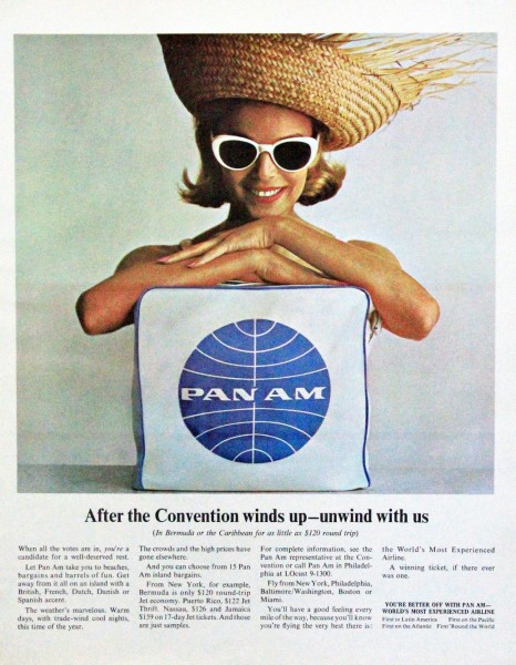 1964 Pan Am Airlines Unwind With Us Magazine Ad