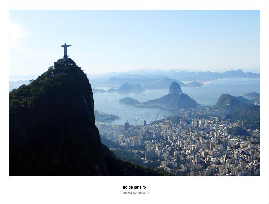 Christ The Redeemer overlooking Botafogo Bay. Rio de Janeiro, Brazil