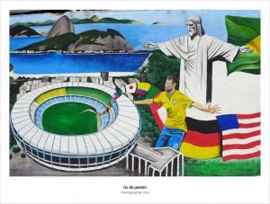 2014 FIFA World Cup Mural. Rio de Janeiro, Brazil