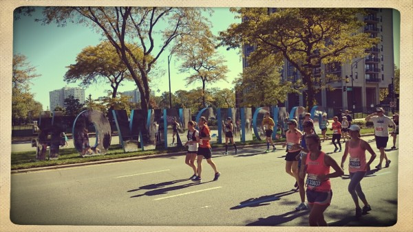 #OwnChicago Sign on the Course of Chicago Marathon
