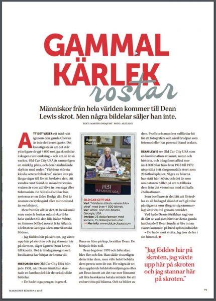 My Old Car City USA photos published in the Swedish Magazine Kombi