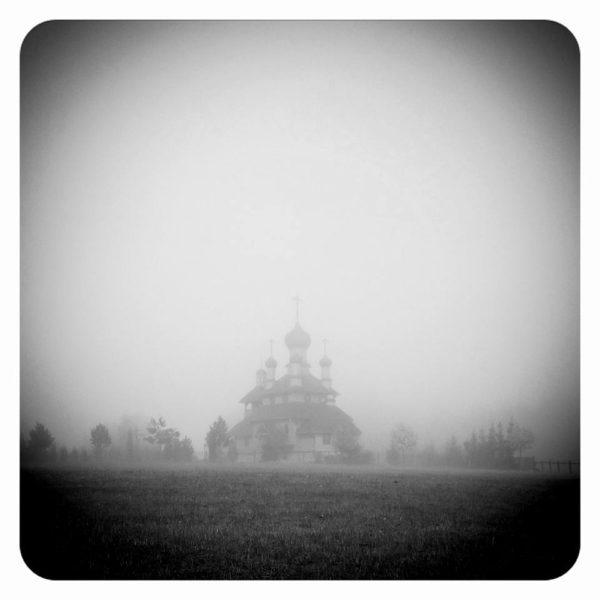 Wooden Church in a Fog, Dudutki, Belarus