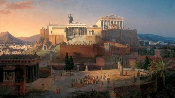 Idealized reconstruction of the Acropolis and Areios Pagos in Athens, Leo von Klenze, 1846