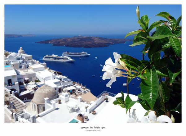 Aegean Sea. Fira, Santorini Island, Greece